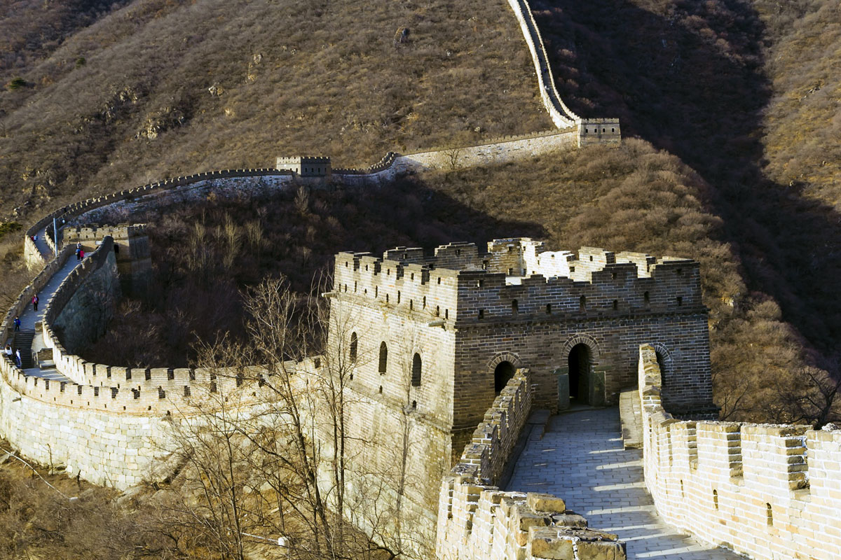 Photo. A bird's-eye view of the Great Wall at Badaling. China.