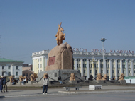 Pictures. Sukhbaatar monument in the Central square.